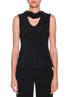Armani Sleeveless Silk Blouse with Detachable Ribbon Trim