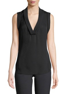 Armani Sleeveless Silk V-Neck Blouse