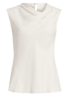 Armani Sleeveless Stretch-Silk Asymmetric Blouse