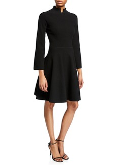 Armani Split High-Neck Bracelet-Sleeve Dress