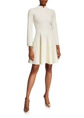 Armani Split High-Neck Bracelet-Sleeve Dress