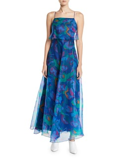 Armani Square-Neck Floral Print Chiffon Long Dress