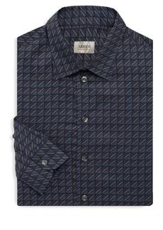 Armani Square-Print Long Sleeve Shirt