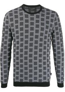 Armani squares-jacquard sweatshirt