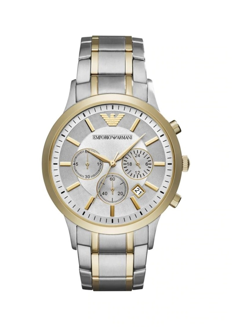 Armani Stainless Steel Chronograph Bracelet Watch