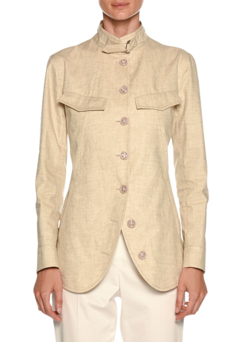 Armani Stand-Collar Button-Front Coated Linen Utility Jacket