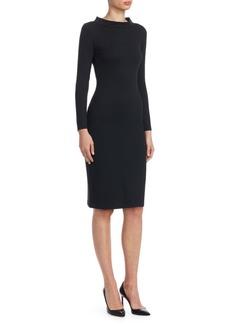 Armani Stand Collar Jersey Sheath Dress