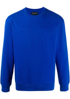 Armani stitched-logo crew neck sweatshirt
