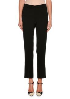 Armani Straight-Leg Crop Wool Pants w/ Stitch Detail