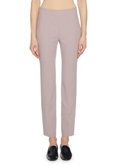 Armani Straight-Leg Wool Crepe Crop Pants with Back Zip