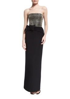 Armani Strapless Embellished-Bodice Column Gown