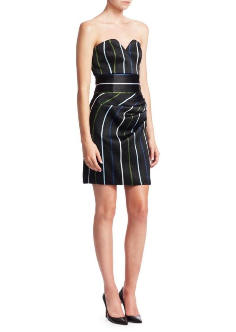 Armani Strapless Pinstripe Mini Dress