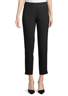 Armani Stretch-Jersey Straight-Leg Crop Pants w/ Beaded Ribbon Trim