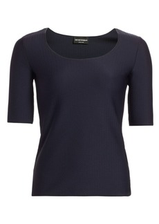 Armani Stretch Jersey Wave Jacquard Top