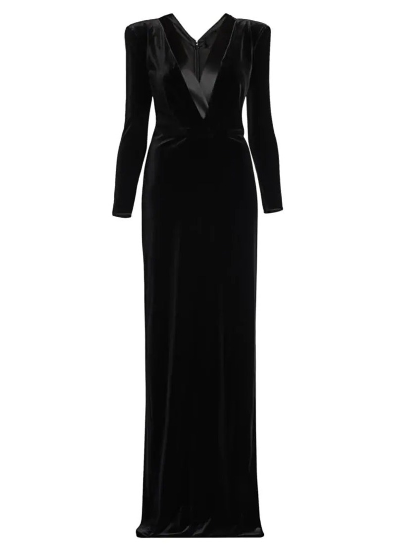 Armani Stretch Velvet Long Sleeve V-neck Gown