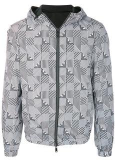 Armani stripe check print rain jacket