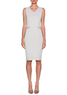 Armani Stripe-Waist Crepe Jersey Sheath Dress
