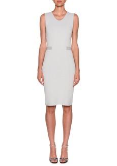 Armani Stripe-Waist Crepe Jersey Sheath Dress