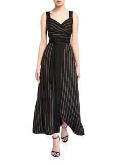 Armani Striped Cady Faux-Wrap Sleeveless Maxi Dress