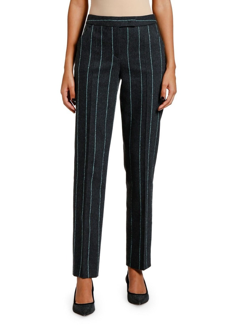 Armani Striped Flannel Zip-Front Pants