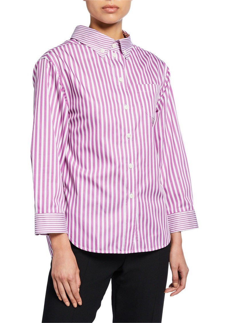 Armani Striped High-Low Button-Down Blouse