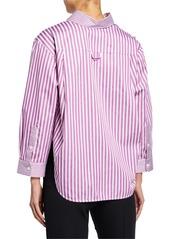 Armani Striped High-Low Button-Down Blouse