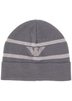 Armani striped logo beanie