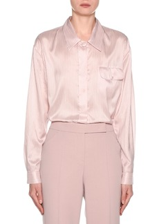 Armani Striped Silk Button-Front Blouse