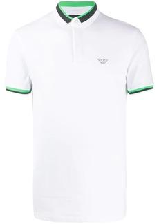 Armani striped-trim logo polo shirt