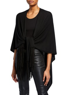Armani Sueded Fringe-Trim Shawl