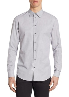 Armani Tailored-Fit Checkered Cotton Shirt