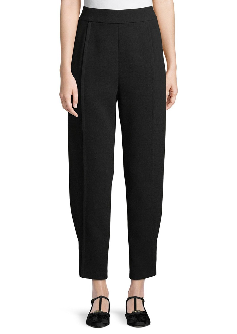 Armani Tapered Satin Back Crepe Pants w/ Button-Tab Cuffs