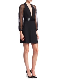 Armani Tech Cady Sheer Sleeve Mini Dress