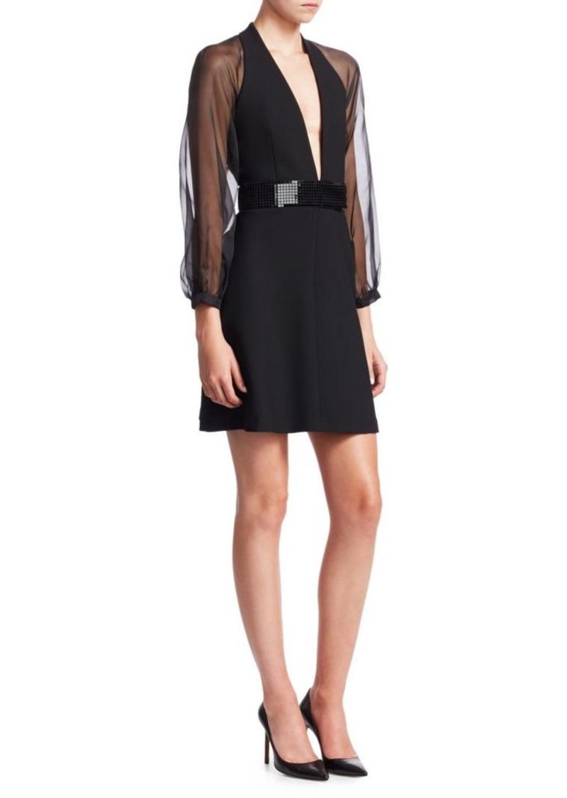 Armani Tech Cady Sheer Sleeve Mini Dress