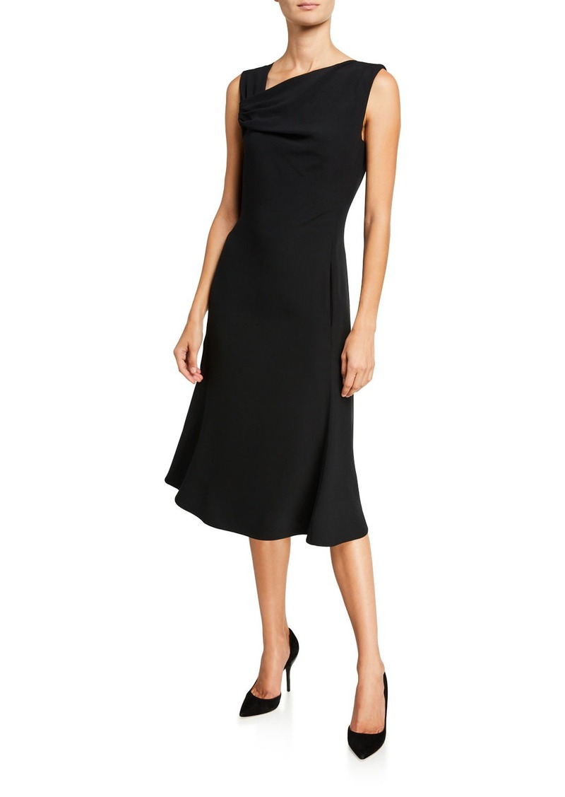 Armani Techno Crepe Asymmetric-Neck Dress