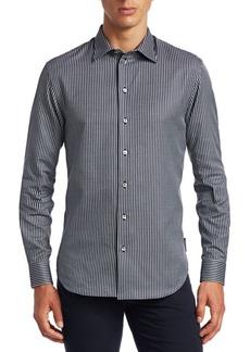 Armani Textured Grid Print Button-Down Shirt