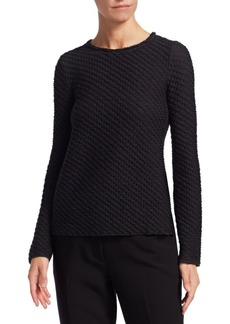 Armani Textured Long-Sleeve Smocked Top