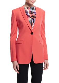 Armani Textured One-Button Slim-Fit Jacket  Matisse Red