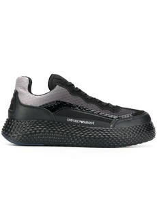 Armani textured panelled sneakers