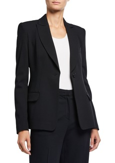 Armani Textured Wool Blend One-Button Seamed Jacket