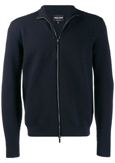 Armani textured zip front cardigan