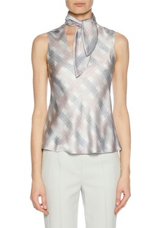 Armani Tie-Neck Graphic-Print Silk Shell