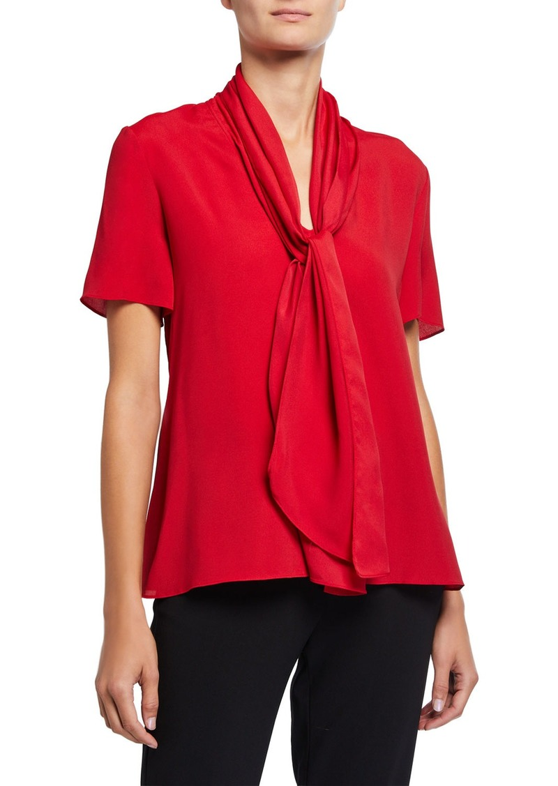 Armani Tie-Neck Short-Sleeve Textured Blended Satin Blouse