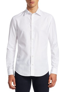 Armani Tonal Chevron Button-Down Shirt