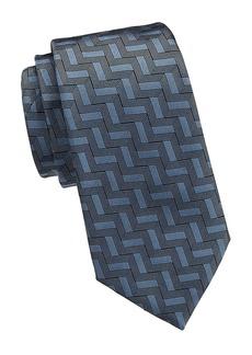 Armani Tonal Chevron Geometric Silk Tie
