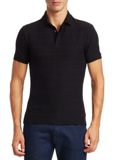 Armani Tonal Grid Pattern Polo