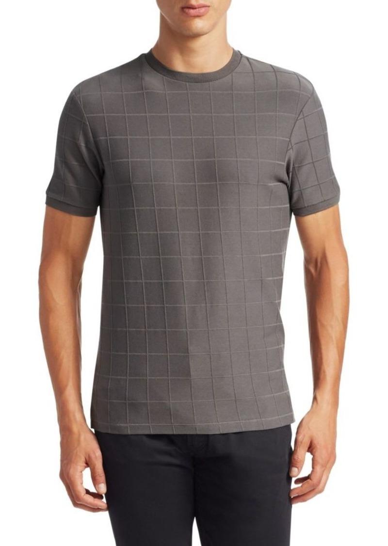 Armani Tonal Grid Pattern T-Shirt