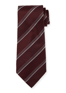 Armani Triple-Stripe Silk/Wool Tie