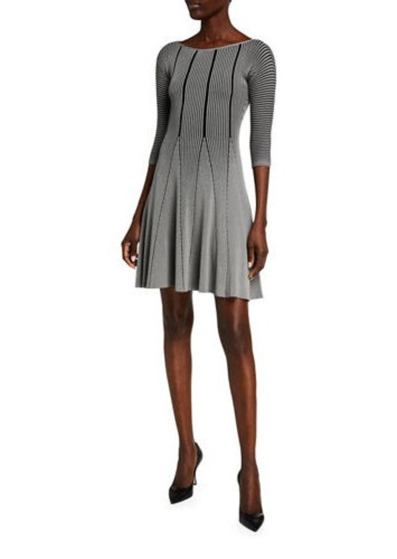Armani Tubular Knit Full Skirt Dress