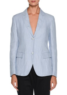 Armani Two-Button Relaxed Linen Jacket